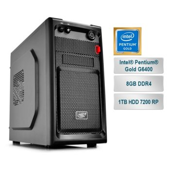 "Настолен компютър PC ""Small Office 5"", двуядрен Coffee Lake Intel Pentium Gold G6400 4.0GHz, 8GB DDR4, 1TB HDD 7200 rp, USB 3.1, Free DOS image"