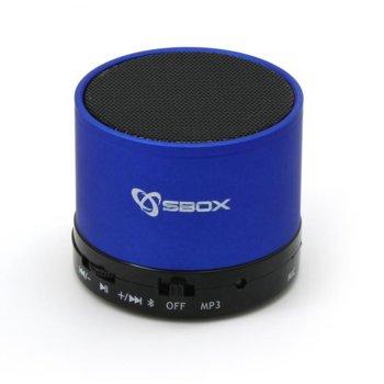 Тонколона SBOX BT-160BL, 1.0, 3W, Bluetooth, 3.5mm jack, синя, microSD слот, FM radio image