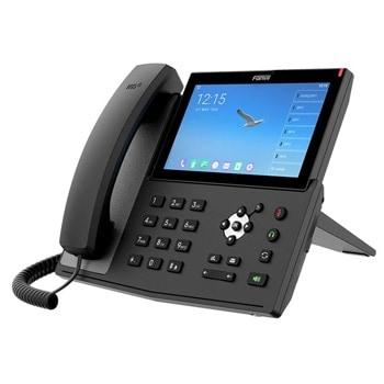 """VoIP телефон Fanvil X7A, 20 SIP акаунта, 7"""" (17.78 cm) 1024x600 цветен тъч-скрийн дисплей, 2x 10/100/1000 Mbps LAN порта, Wi-Fi, Bluetooth, PoE, съвместим с Android, черен image"""