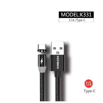 Кабел магнитен Kingleen (K331), от USB Type-C(м) към USB A(м), 1м, 3.0A image