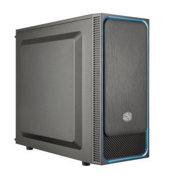 Кутия Cooler Master MasterBox E500L, ATX/microATX/Mini-ITX, 2x USB 3.0, сива-син кант, без захранване image