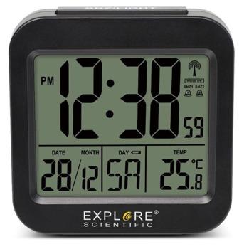 Часовник/будилник Explore Scientific RC Black, часовник, термометър, будилник, синя подсветка на екрана, черен image
