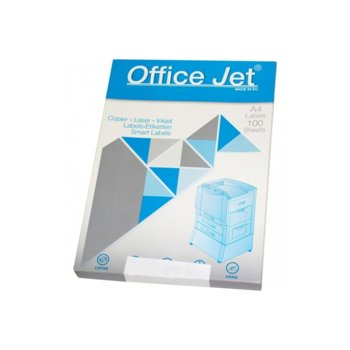 Етикети за принтери Office Jet, формат А4, размер 70х42.29mm, 21бр. на лист, опаковка от 100 листа, бели image