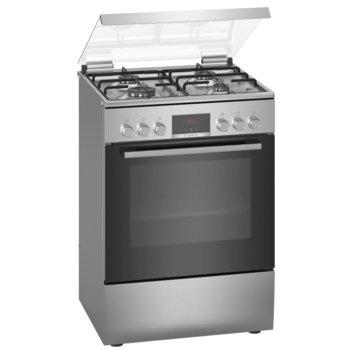 Готварска печка Bosch HXN39AD50, клас A, 66л. обем, 4 газови котлона, LED-дипслей, таймер-програматор, инокс image