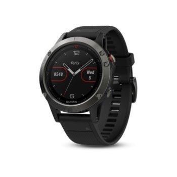 """Смарт часовник Garmin fēnix 5, 1.2"""" (30.4 mm), Bluetooth, GPS, 54MB Flash памет, до 24 часа време за работа, черен image"""