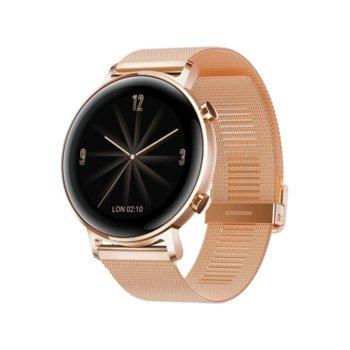 Смарт часовник Huawei Watch GT 2, Diana-B19B, 42mm, 390 x 390 pix AMOLED дисплей, 4GB памет, Bluetooth, Huawei wearable platform, водоустойчив, златист с златиста каишка image
