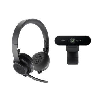 Комплект слушалки и камера Logitec Pro Personal Video Collaboration Kit (Zone Wireless + BRIO), безжични, микрофон, Bluetooth, wireless Qi charging, 4K Ultra HD (30fps), autofocus, черни image
