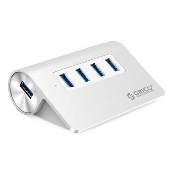 USB хъб Orico M3H4-V1-SV-BP, 4 порта, USB 3.0, алуминиев image