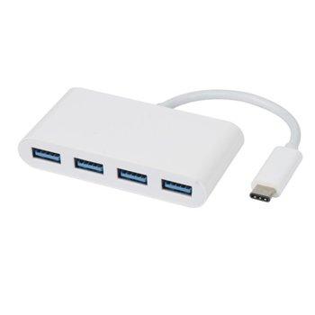 Хъб Vivanco от USB Type C(м) Superspeed към 4х USB А 3.1 (ж) , бял image