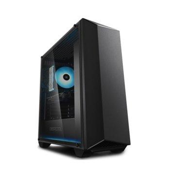 Кутия DeepCool EARLKASE RGB, ATX/mATX/miniITX, 1x USB 3.0, прозорец, RGB подсветка, черна, без захранване image