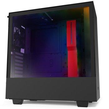 Кутия NZXT H510i Smart, ATX/mATX/mini-ITX, 1x USB 3.0 Type A/1 x USB 3.0 Type C, страничен прозорец от закалено стъкло, червено/черна, без захранване image