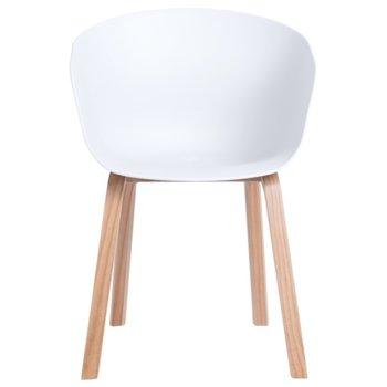 Трапезен стол Carmen 9972, полипропиленов материал, дървена база, бял  image