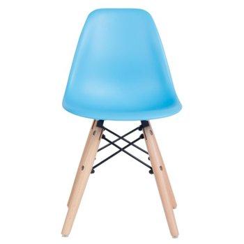 Детски трапезен стол Carmen 9957 B, полипропилен, дървена база, син image