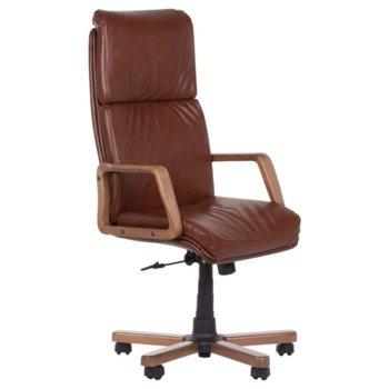 Директорски стол Carmen Texas, естествена/еко кожа, подлакътници, регулируем люлеещ механизъм, газов амортисьор, заключване на облегалката, табак image