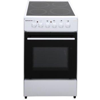 Готварска печка Electra 50CER/ED, енергиен клас A, 4 нагревателни зони, 47л. обем, 5 функции, 6 степени на нагряване на котлоните, бяла image