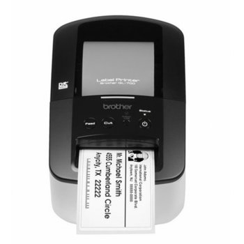Етикетен принтер Brother QL-700 QL700RF1, 300 x 600 dpi, директен термопечат, 150 mm/секунда скорост на печат, 62 mm максимална ширина на етикsета, USB image