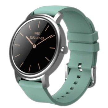 "Смарт часовник Xiaomi MiBro Air (XPAW002), 1.28"", IP68, Bluetooth, до 10 дни време на работа, 12 спортни режима, Био сърдечен ритъм, сребрист-зелен image"