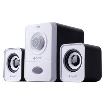 Тонколони Kisonli U-2900, 2.1, 11W, AUX, USB, SD Card, черни/бели, USB захранване image