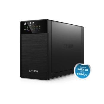 """Кутия 3.5""""(8.9 cm) RaidSonic IB-RD3620SU3, 2x 3.5""""(8.9 cm) SATA I/II/III, RAID, USB 3.0, eSATA, черна image"""
