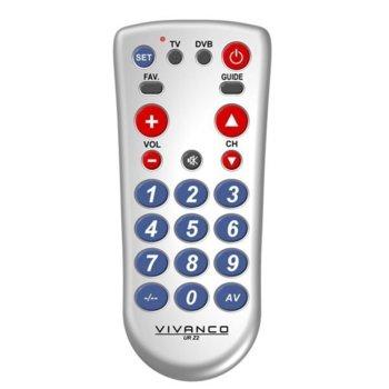 Дистанционно Vivanco 34873, универсално, TV/DVB/DTT/DVB-S/DVB-C/analog, сребристо image