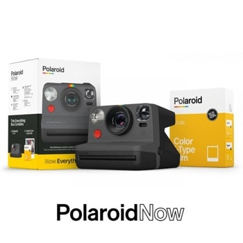 Фотоапарат Polaroid Everything Box Polaroid Now (черен) в комплект с цветен филм i-Type (16 броя), моментални снимки, светкавица, с батерия, auto-focus, USB image