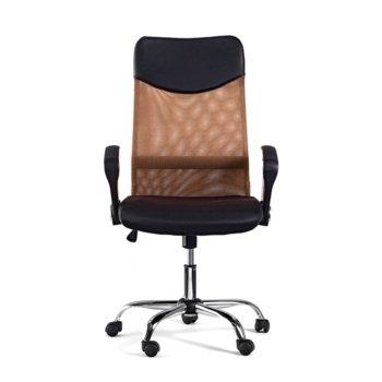 Директорски стол Monti HB, дамаска, екокожа и меш, черна седалка, кафява облегалка image