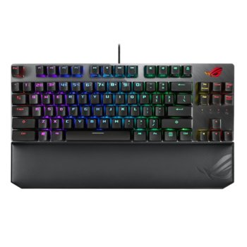 Клавиатура Asus ROG Strix Scope TKL Deluxe, червени суичове, гейминг, механична, Aura Sync RGB подсветка, магнитна подложка, черна, USB image