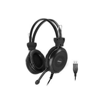 Слушалки A4Tech HU-30, микрофон, контрол на звука, USB, черни image