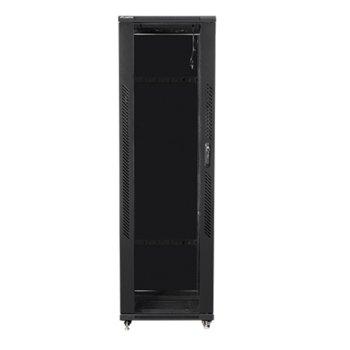 """Комуникационен шкаф Lanberg FF01-6642-12B, 19"""", 42U, 600 x 600 x 2047.5, стъклена врата, черен image"""