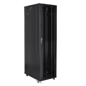 """Комуникационен шкаф Lanberg FF01-8047-12B, 19"""", 47U, 800 x 1000 x 2270, стъклена врата, черен image"""