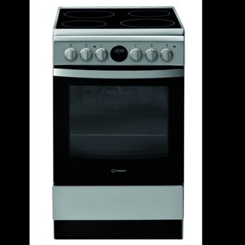 Готварска печка Indesit IS5V5CCX/E, клас А, 59 л. общ обем, 4 котлона, 5 фукнции на фурната, механичен таймер, инокс image