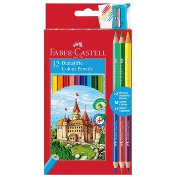 Цветен молив Faber-Castell Замък 12 + 6 острилка product