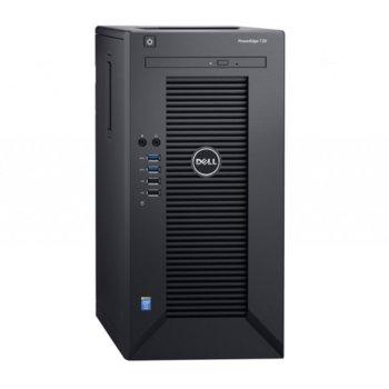 Сървър Dell PowerEdge T30(PET3002-14), четириядрен Skylake Intel Xeon E3-1225 v5 3.3GHz/3.7GHz, 8GB ECC UDIMM, 1TB 7200 rpm HDD, 1x LAN 10/100/1000, No OS, 1x 290W захранване image