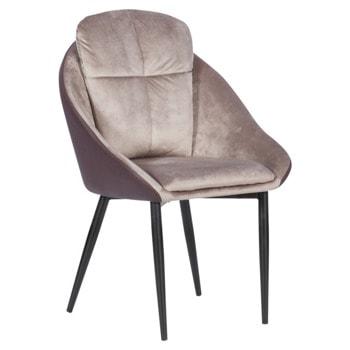 Трапезен стол Carmen VOLSK, до 100кг. макс. тегло, дамаска/еко кожа, метална база, тъмнобежов image