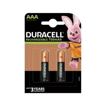 Акумулаторна батерия Duracell, AAA, 1.2V, 750 mAh, NiMH, 2 броя image