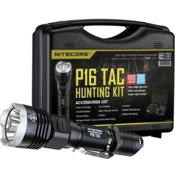 Ловен комплект Nitecore P16 TAC Hunting Kit, включва фенер, 1x Li-Ion батерия, зарядно устройство Nitecore NEW i2, филтър NFR40 – червен/зелен, крепеж за оръжие, RSW1 – дистанционен спусък image