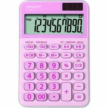 Калкулатор SHARP EL-M335BPK, 10 разряден дисплей, memory функция, преобразуване на валута, розов image