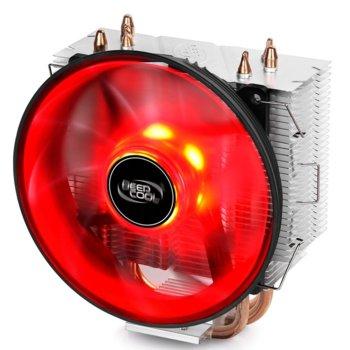 Охлаждане за процесор DeepCool GAMMAXX 300R Red LED, съвместимост със Intel LGA1366/LGA115X/LGA775 & AMD AM4/AM3+/AM3/AM2+/AM2/FM2+/FM2/FM1 image