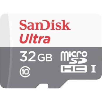 Карта памет 32GB microSDHC с адаптер, SanDisk Ultra (SDSQUNS-032G-GN6TA), Class 10 UHS-I, скорост на четене 80 MB/sec  image