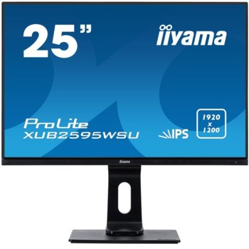 "Монитор Iiyama ProLite XUB2595WSU-B1, 25"" (63.36 cm) IPS панел, WUXGA, 4ms, 50000000:1, 300 cd/m2, HDMI, DisplayPort, VGA image"