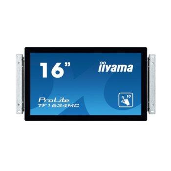 "Дисплей Iiyama TF1634MC-B6X, тъч дисплей, 15.6"" (39.62 cm), HD, HDMI, VGA, DisplayPort image"