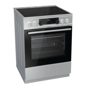 Готварска печка Gorenje EC6351XC, клас А, 4 стъклокерамични нагревателни зони, 67 л. обем, термоелектрически предпазител, врата с двойно стъкло, индикатор за остатъчна топлина, инокс image