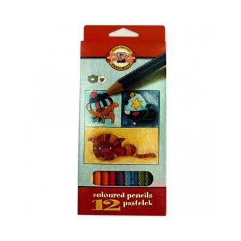 Цветни моливи KOH-I-NOOR, 12 броя, дълги image