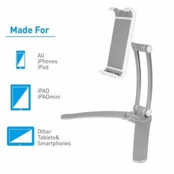 Поставка за бюро, шкаф, стена, и плоскости Macally Stand Wall Mount, за мобилни устройства и таблети широки до 28cm, сребриста image