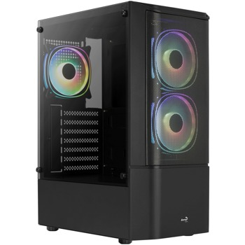 Кутия Aerocool Quantum Mesh v3 (Quantum Mesh-G-BK-v3), ATX/mATX/Mini-ITX, 2x USB 3.0, прозорец, черна, без захранване image