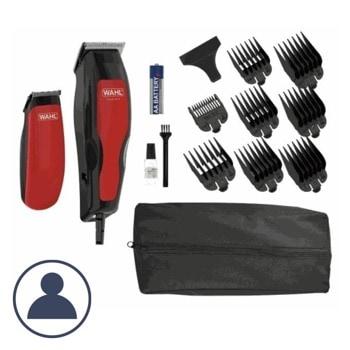 Машинка за подстригване Wahl HomePro 100 Combo (1395.0466), с тример, самонаточващи ножчета, 8 приставки за подстригване, жична, черна/червена image
