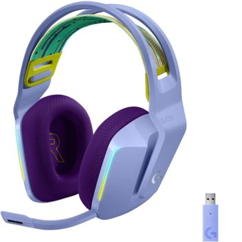 Слушалки Logitech G733 (981-000890), безжични, микрофон, 40mm говорители, 20 Hz - 20 kHz, лилави image