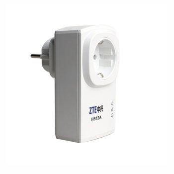 ZTE H512A, Mini Powerline адаптер, AC гнездо,комплект 2 устройства, 200Mbps image