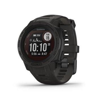 Смарт часовник Garmin Instinct Solar, 128 x 128 пиксела дисплей, Bluetooth, QuickFit каишка, до 24 дни издръжливост на батерията, графитено черно image