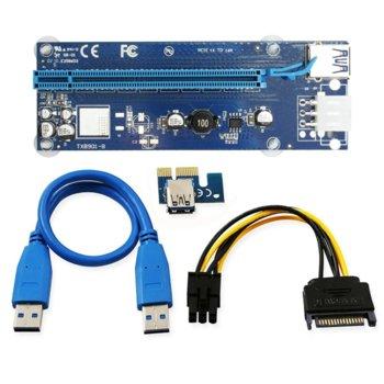 Контролер Riser Card VER006C, от PCI-E 1X към 16X + кабел USB 3.0 60см, син image
